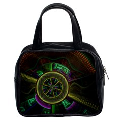 Fractal Threads Colorful Pattern Classic Handbag (two Sides)