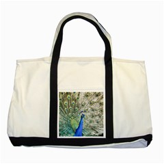 Peacock Bird Colorful Plumage Two Tone Tote Bag