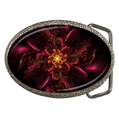 Floral Fractal Glow Flower Design Belt Buckles