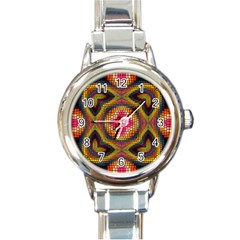 Kaleidoscope Art Pattern Ornament Round Italian Charm Watch by Wegoenart
