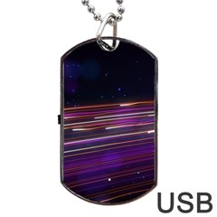Abstract Cosmos Space Particle Dog Tag Usb Flash (one Side)