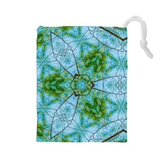 Forest Kaleidoscope Pattern Drawstring Pouch (large)
