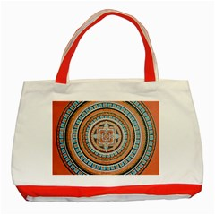 Mandala Art Painting Acrylic Classic Tote Bag (red)