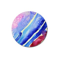 Painting Abstract Blue Pink Spots Magnet 3  (round)