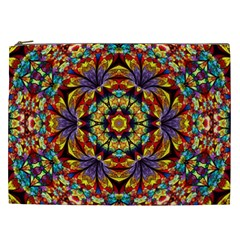 Flowers Kaleidoscope Art Pattern Cosmetic Bag (xxl) by Wegoenart
