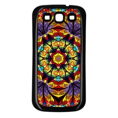 Flowers Kaleidoscope Art Pattern Samsung Galaxy S3 Back Case (black)