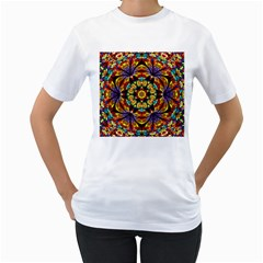 Flowers Kaleidoscope Art Pattern Women s T Shirt (white)