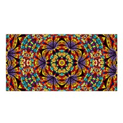 Flowers Kaleidoscope Art Pattern Satin Shawl