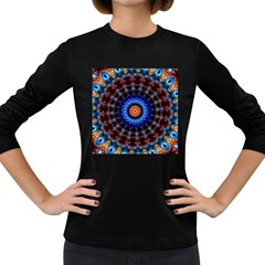 Rose Kaleidoscope Art Ornament Women s Long Sleeve Dark T-shirt by Wegoenart