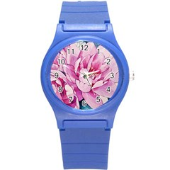 Art Painting Flowers Peonies Pink Round Plastic Sport Watch (s)