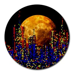 Skyline Frankfurt Abstract Moon Round Mousepads