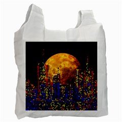 Skyline Frankfurt Abstract Moon Recycle Bag (one Side) by Wegoenart