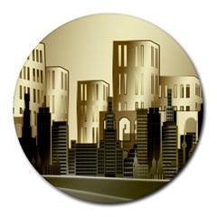 Architecture City House Round Mousepads