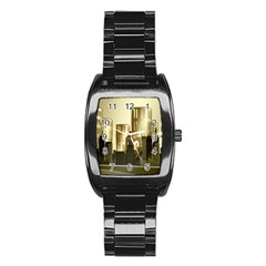 Architecture City House Stainless Steel Barrel Watch