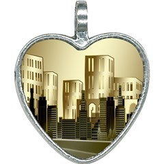 Architecture City House Heart Necklace