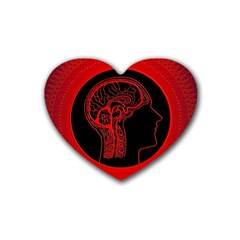 Artificial Intelligence Brain Think Rubber Coaster (heart)