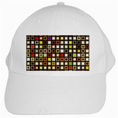 Squares Colorful Texture Modern Art White Cap by Bejoart
