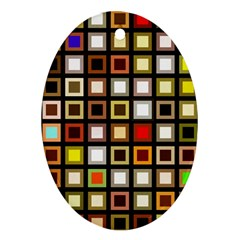 Squares Colorful Texture Modern Art Ornament (oval)