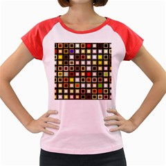 Squares Colorful Texture Modern Art Women s Cap Sleeve T Shirt