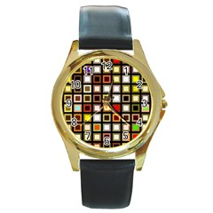 Squares Colorful Texture Modern Art Round Gold Metal Watch