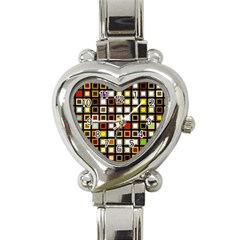 Squares Colorful Texture Modern Art Heart Italian Charm Watch