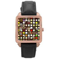 Squares Colorful Texture Modern Art Rose Gold Leather Watch