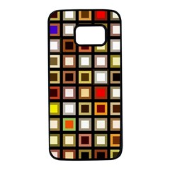 Squares Colorful Texture Modern Art Samsung Galaxy S7 Black Seamless Case