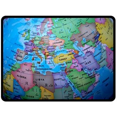 Globe World Map Maps Europe Fleece Blanket (large)
