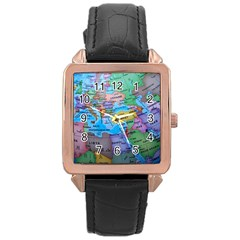 Globe World Map Maps Europe Rose Gold Leather Watch