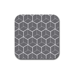Cube Pattern Cube Seamless Repeat Rubber Square Coaster (4 Pack)