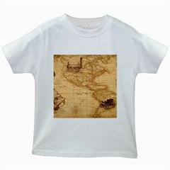 Map Discovery America Ship Train Kids White T Shirts by Bejoart