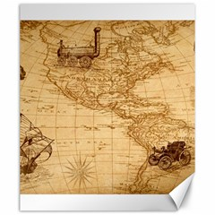Map Discovery America Ship Train Canvas 20  X 24