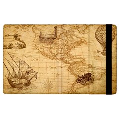 Map Discovery America Ship Train Apple Ipad 3/4 Flip Case
