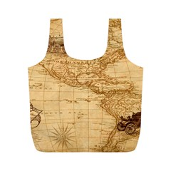Map Discovery America Ship Train Full Print Recycle Bag (m)