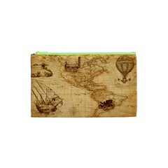 Map Discovery America Ship Train Cosmetic Bag (xs)
