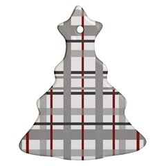 Fabric Plaid Grey Gray Burgundy Christmas Tree Ornament (two Sides)