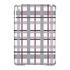 Fabric Plaid Grey Gray Burgundy Apple Ipad Mini Hardshell Case (compatible With Smart Cover)