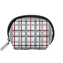 Fabric Plaid Grey Gray Burgundy Accessory Pouch (small)