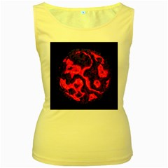 Lava Planet Space Universe Fire Women s Yellow Tank Top