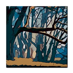 Forest Artwork Card Greeting Woods Tile Coasters