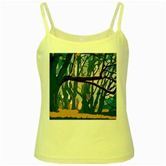 Forest Artwork Card Greeting Woods Yellow Spaghetti Tank