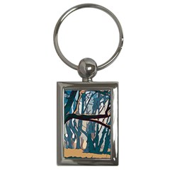 Forest Artwork Card Greeting Woods Key Chains (rectangle)