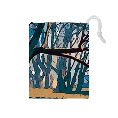 Forest Artwork Card Greeting Woods Drawstring Pouch (medium)