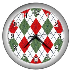 Red Green White Argyle Navy Wall Clock (silver)