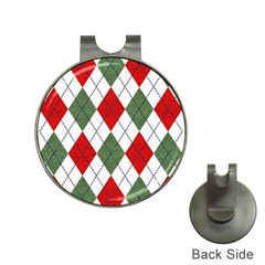Red Green White Argyle Navy Hat Clips With Golf Markers