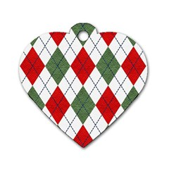 Red Green White Argyle Navy Dog Tag Heart (two Sides)