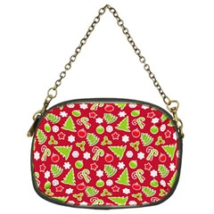 Christmas Paper Scrapbooking Pattern Chain Purse (two Sides)