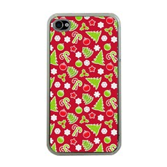 Christmas Paper Scrapbooking Pattern Apple Iphone 4 Case (clear)