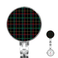 Plaid Tartan Checks Pattern Stainless Steel Nurses Watch