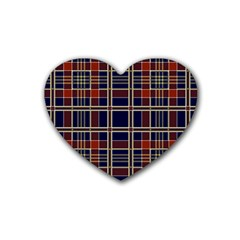 Plaid Tartan Scottish Navy Gold Heart Coaster (4 Pack)